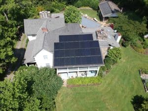 Solar Installation overhead view of panels.