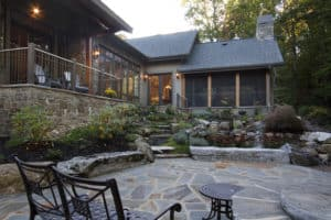 Piney Knoll Paradise has a stone patio courtyard right off the back of the house.