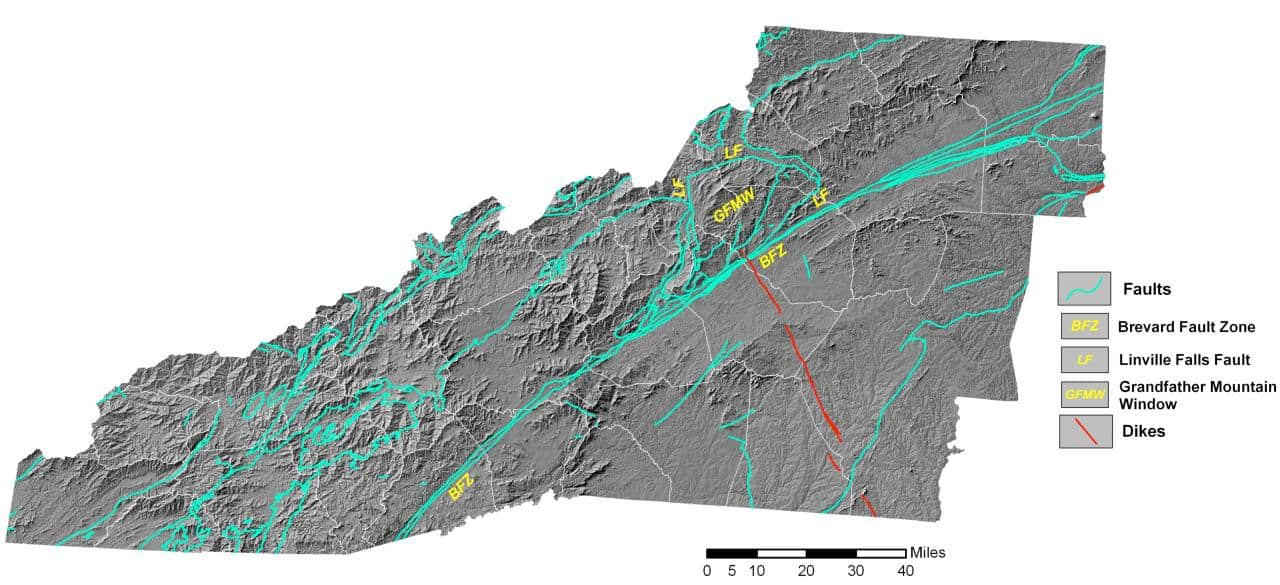 Earthquakes in WNC are common along the Brevard Fault Line